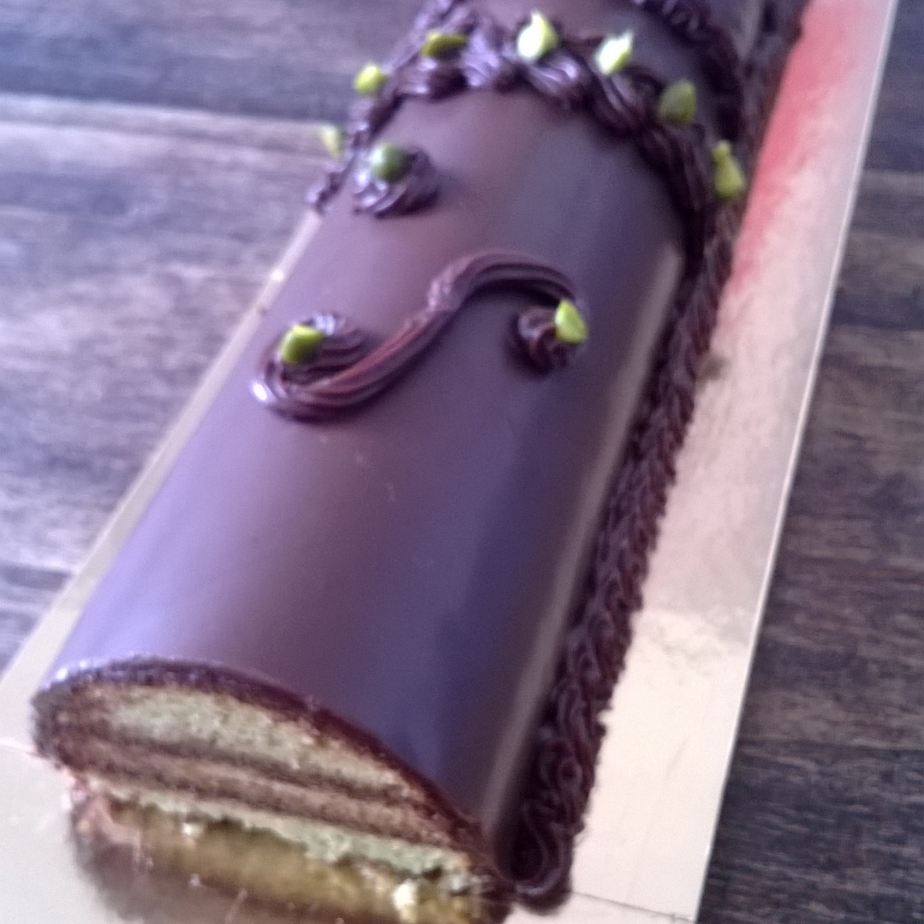 Chocolate and pistachio bûche