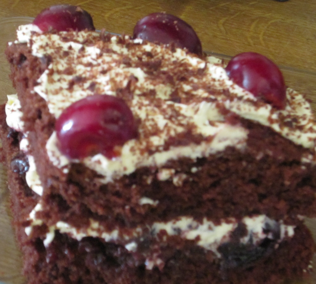 A slice of blackforest gateau