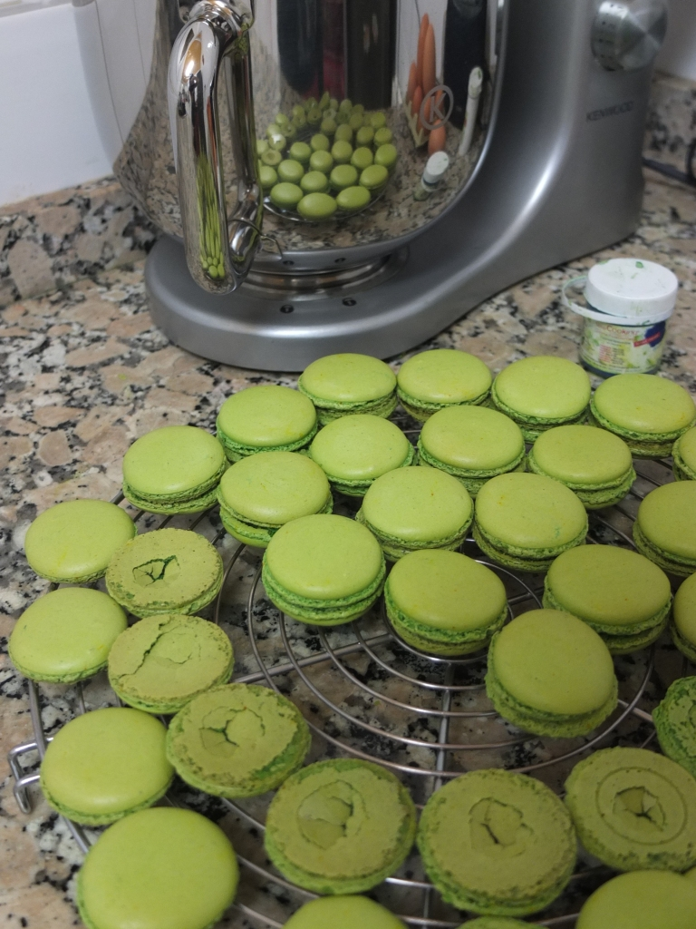 Macaron shells ready to be filled