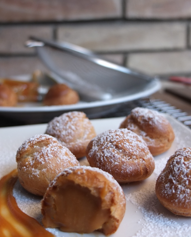 Creamy salted caramel choux