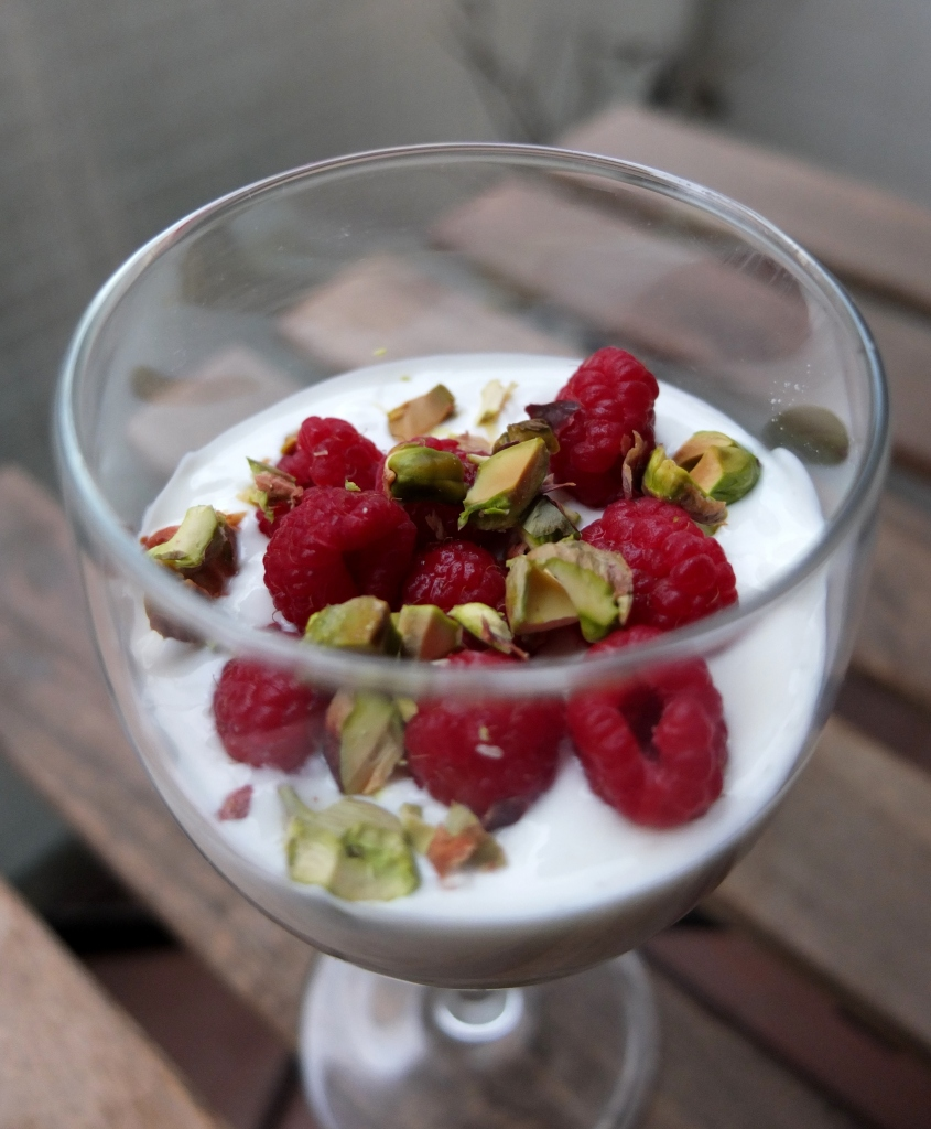 Raspberry, avocado mousse and pistachio verrines