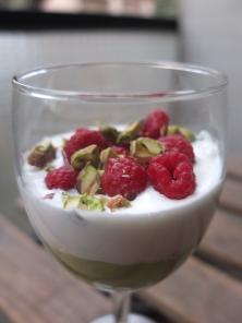 Raspberry and avocado mousse verrine