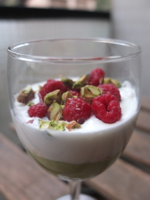 Raspberry and avocado mousse verrine