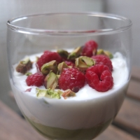 The raspberry, avocado mousse and pistachio verrines recipe, a water photo and thanks Mr Conticini!