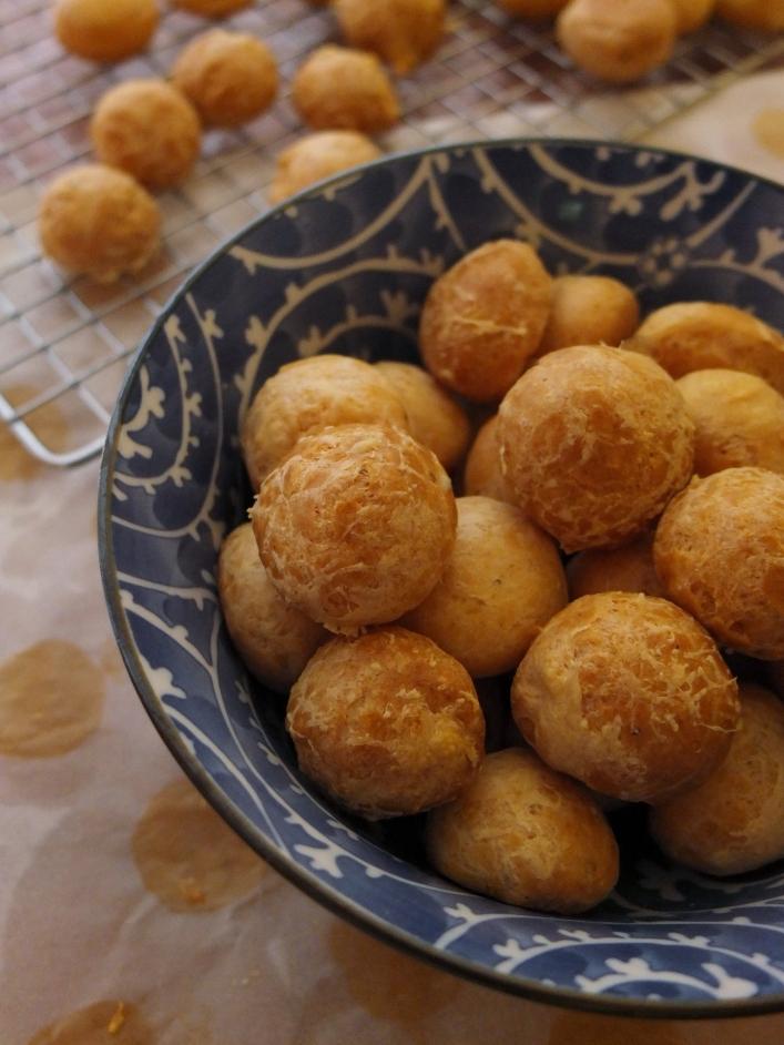Gougères or cheese puffs