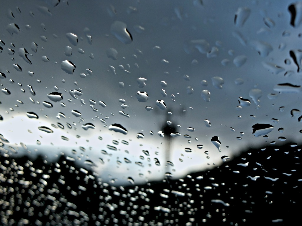 glass photo - rain on a windscreen