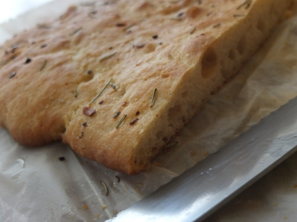 Spelt focaccia with rosemary and red chilli pepper flakes