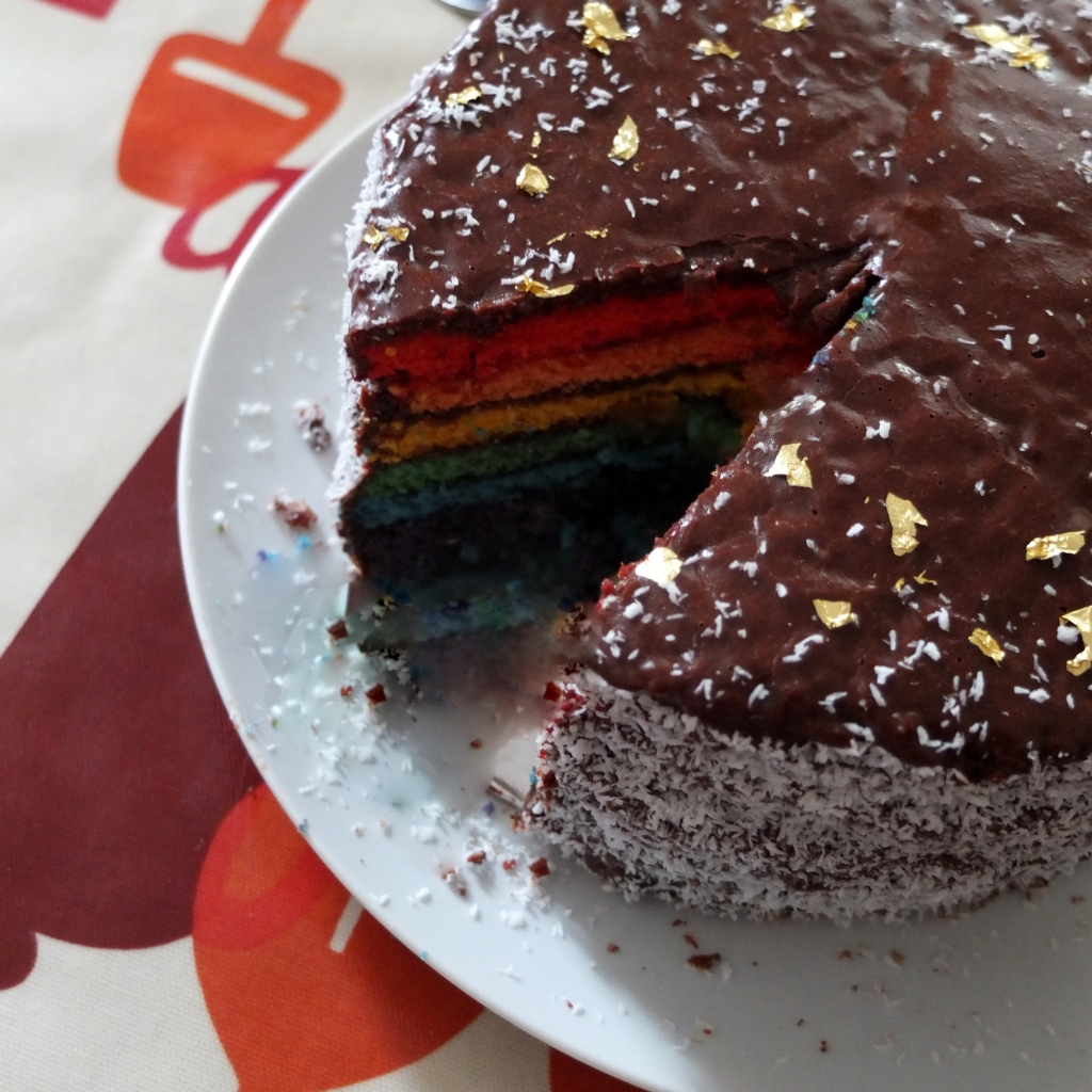 Cocoa and raspberry rainbow cake!