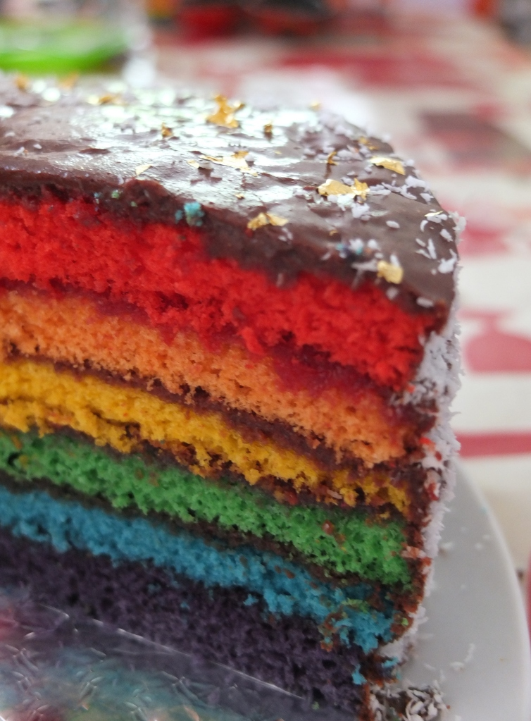 Rainbow cake layers!