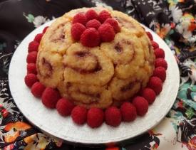 Lemon mousse and raspberry charlotte royale