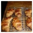 Yummy wholemeal spelt croissants made by Dookes. They look very well-shaped and nicely risen too! Dookes says: for a first attempt I have to say I'm pretty pleased. They certainly pass the taste test and have the seal of approval from Kate!'