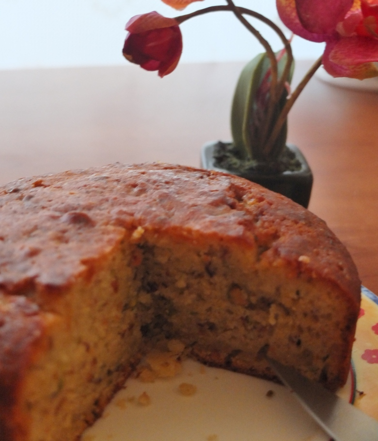 Healthy lime, pistachio and orange blossom cake
