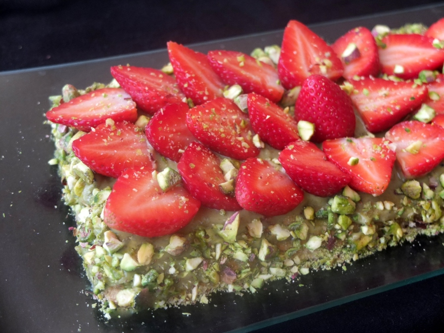 A healthier star anise strawberry and pistachio tart