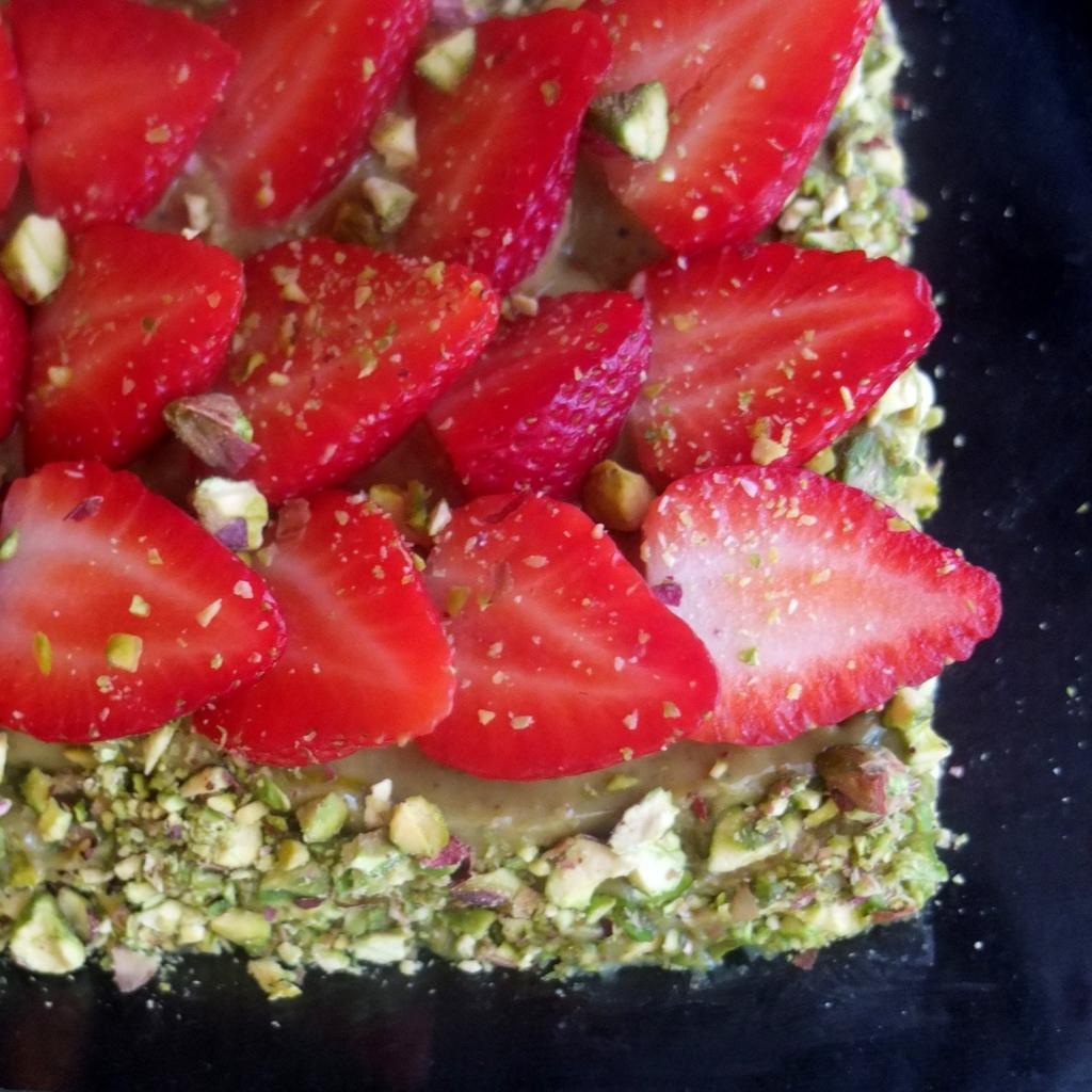 Anise strawberry and pistachio spelt sablé breton tart