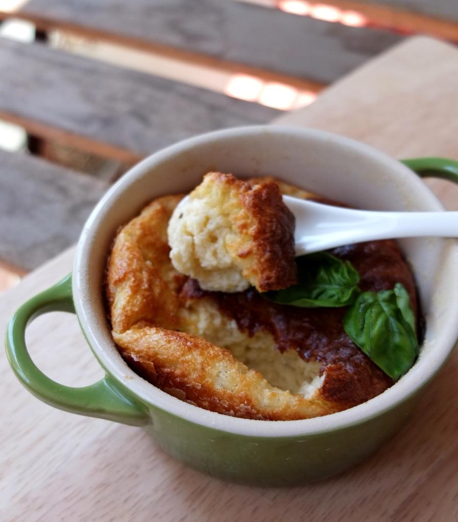 Basil and nutmeg cheese soufflé