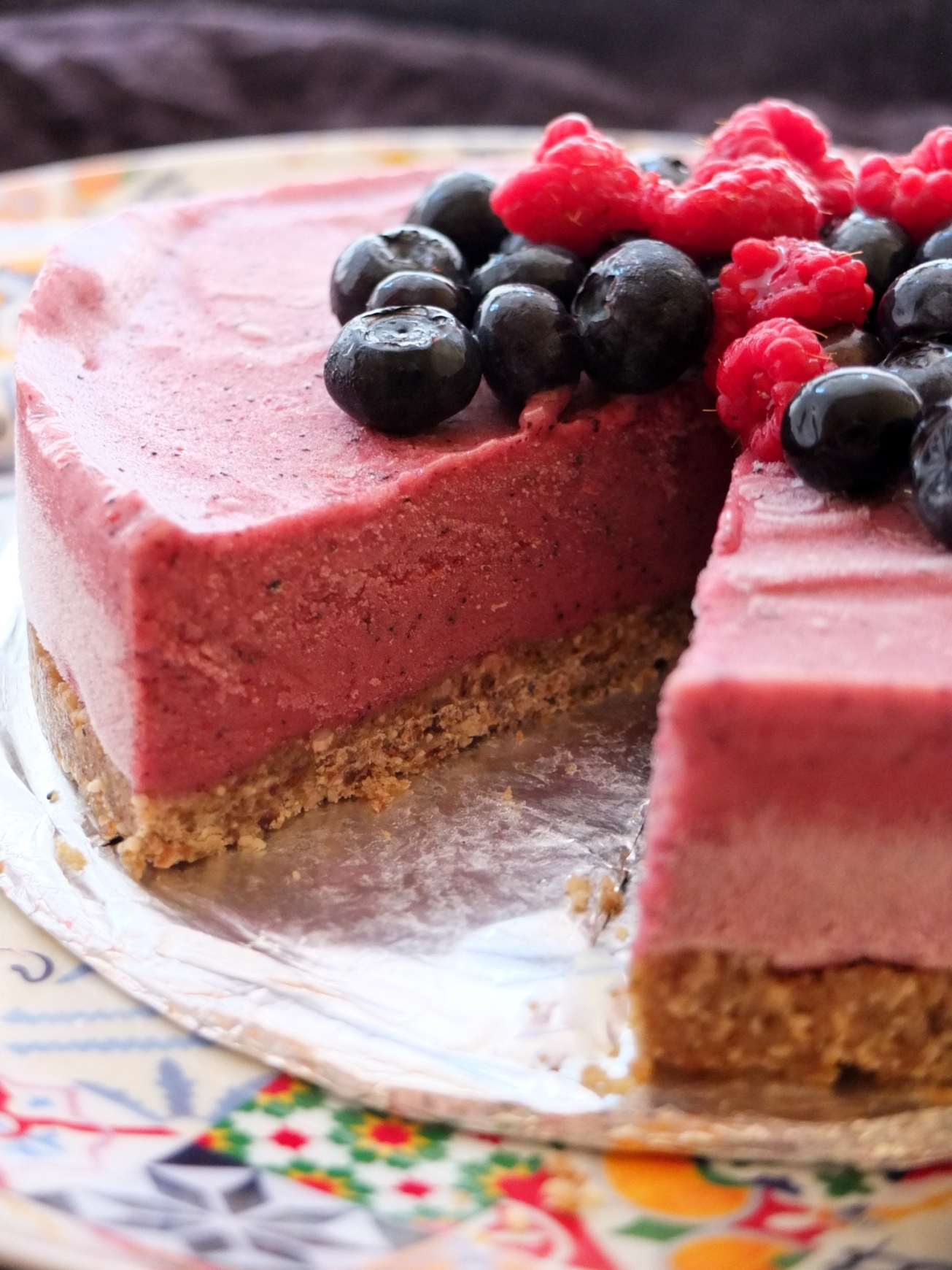 A healthy berry banana ice-cream pie