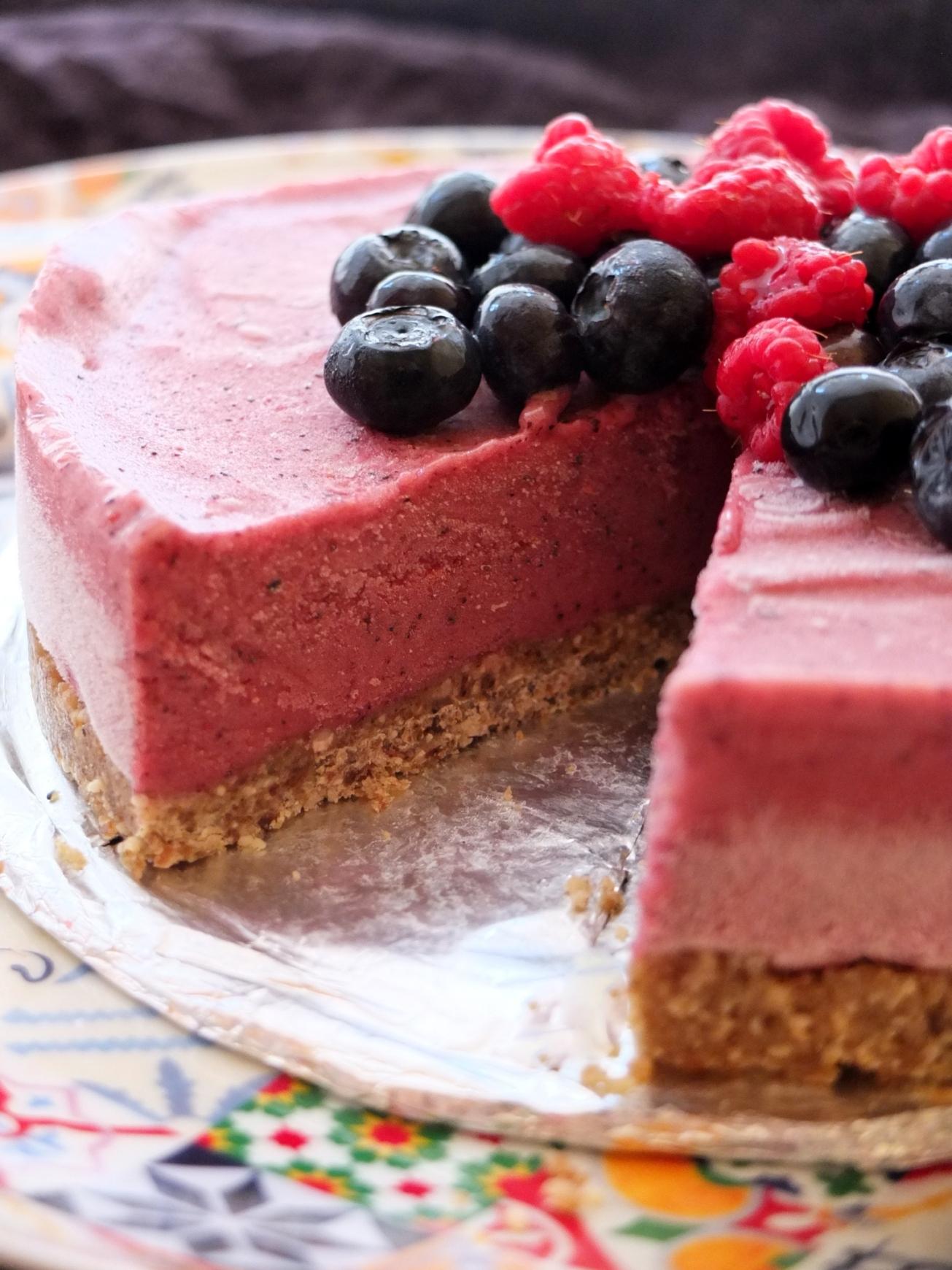 A healthy berry banana ice-cream pie