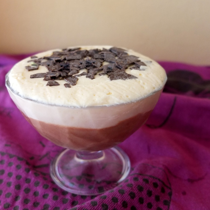 chocolate and bergamot mousses