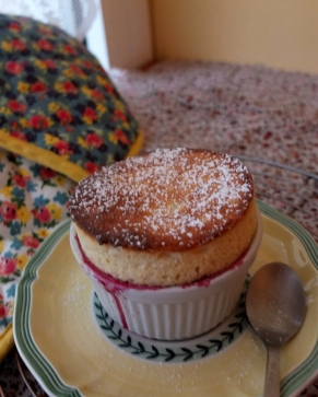 Cherry and almond soufflé