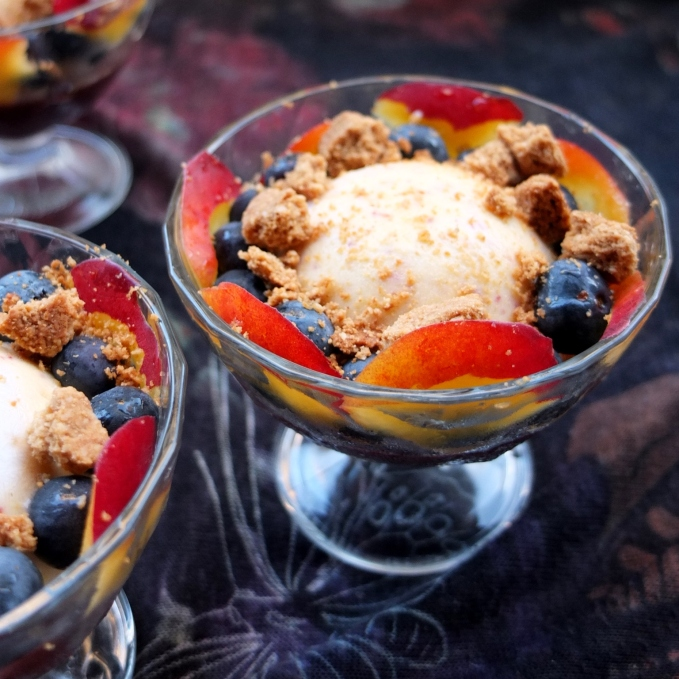 Peach ice-cream, berry jelly and oat crumble dessert cups