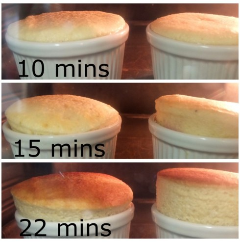 Soufflés rising in the oven