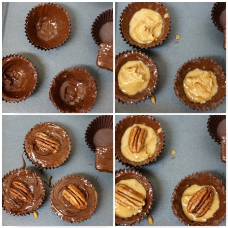 Chocolate pecan and salted caramel peanut butter cups
