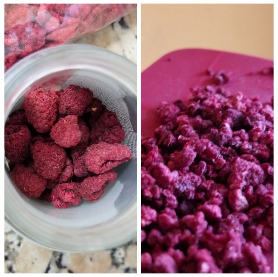 Dehydrated and chopped raspberries