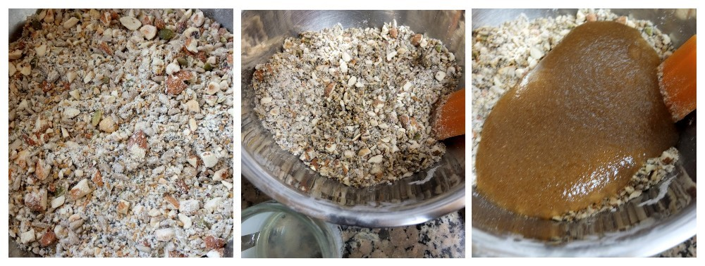 Dry ingredients then coconut oil then psyllium gel