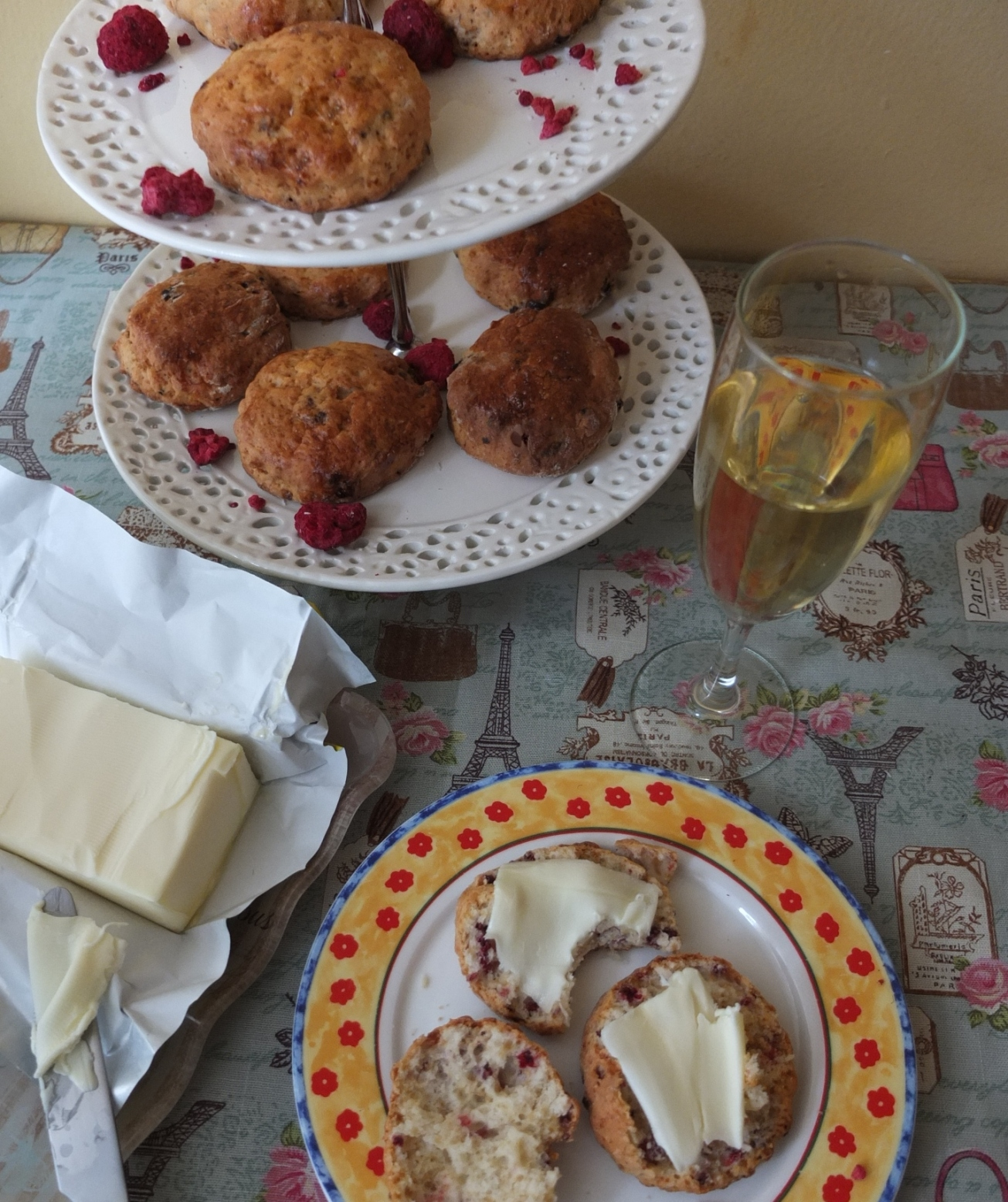 Afternoon champagne tea with Ispahan scones