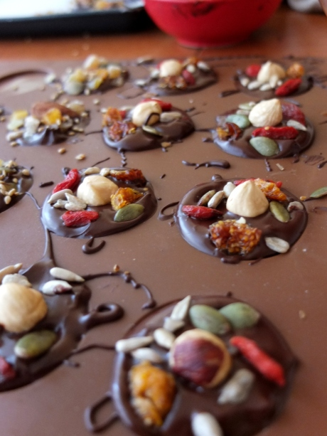 Healthy superfood chocolate mendiants