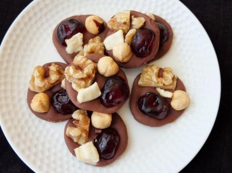 'British' walnut, hazelnut, glacé cherry and apple mendiants