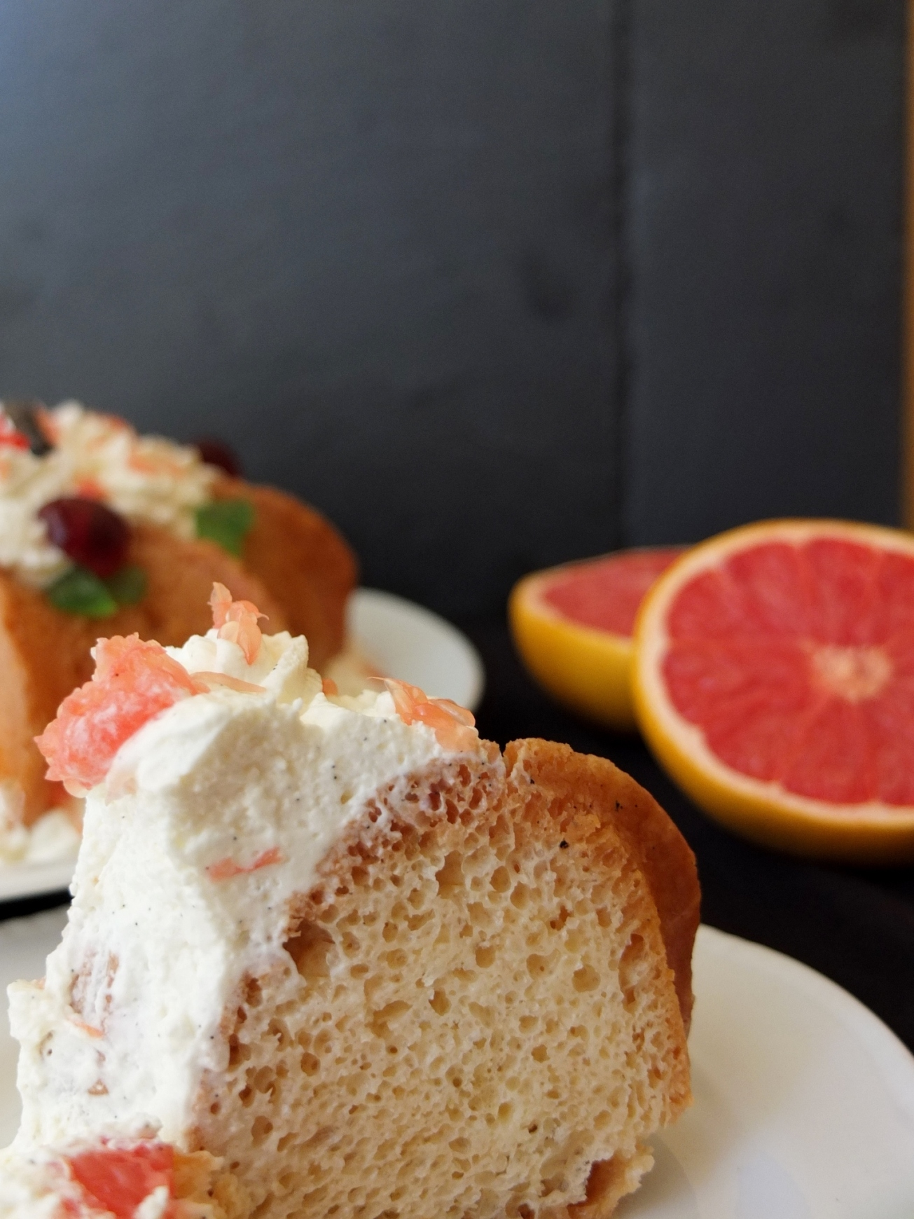 Pink grapefruit and kirsch savarin