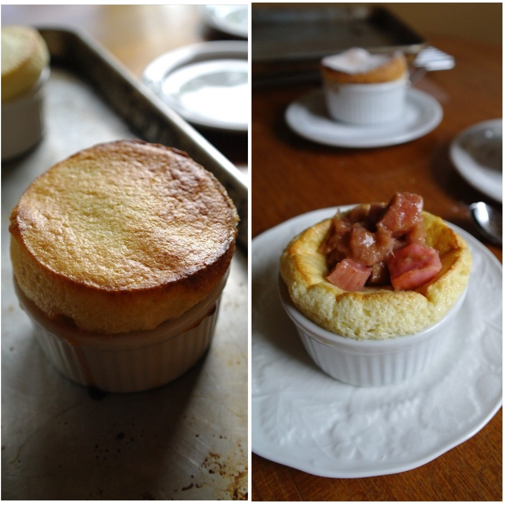 Laurie at ten.times.tea's Caraway and nutmeg soufflés with roasted rhubarb