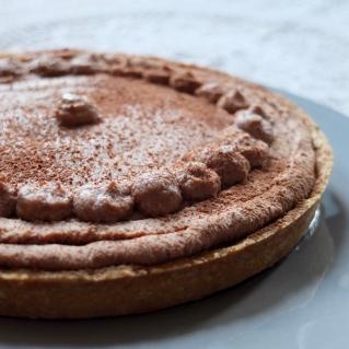 Salted caramel and milk chocolate mousse tart