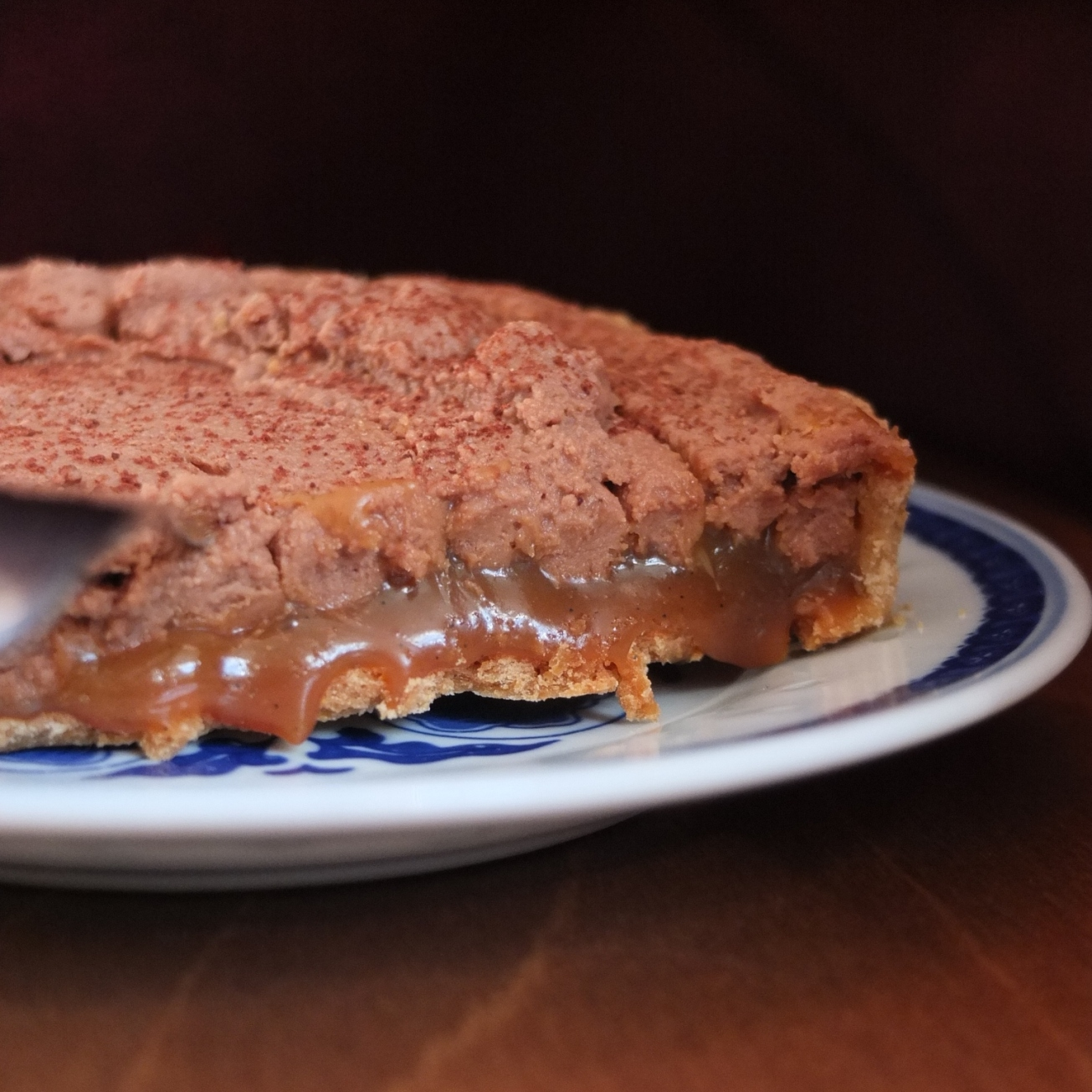 Salted caramel and milk chocolate mousse tart