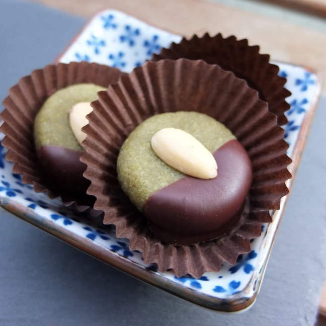 Matcha maple syrup marzipans dipped in chocolate