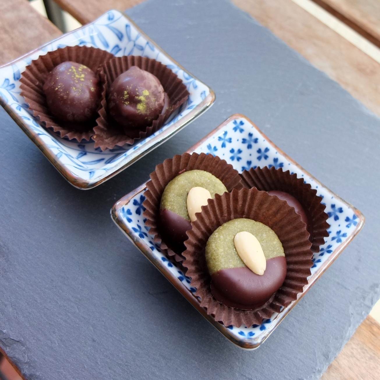 Matcha marzipans and caramels