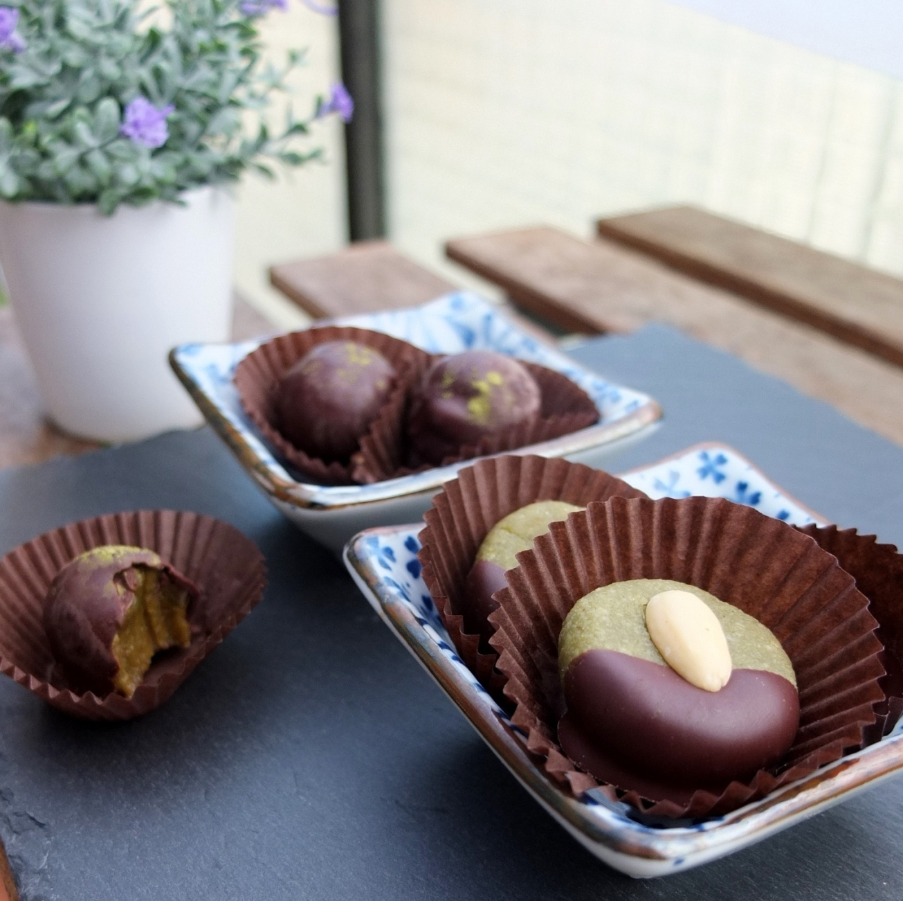 Healthier chocolate-covered matcha marzipans and date caramels