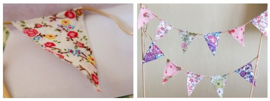 cake bunting - triangles on the string