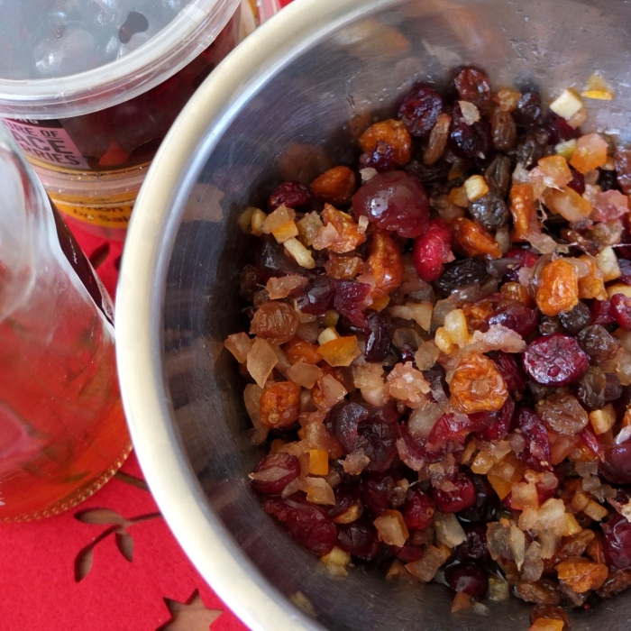 Soaking christmas cake dried fruit