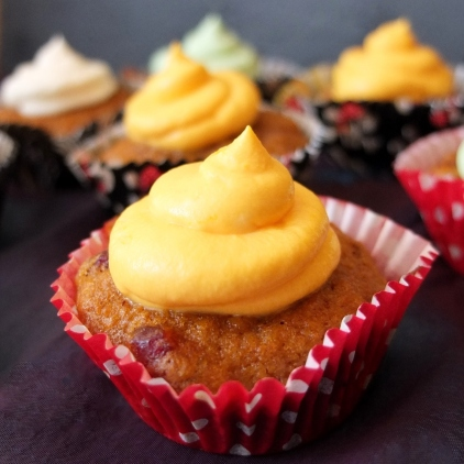 Sweet potato, cranberry and walnut cupcakes