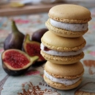 Goats' cheese macarons with fig, walnut and black sesame