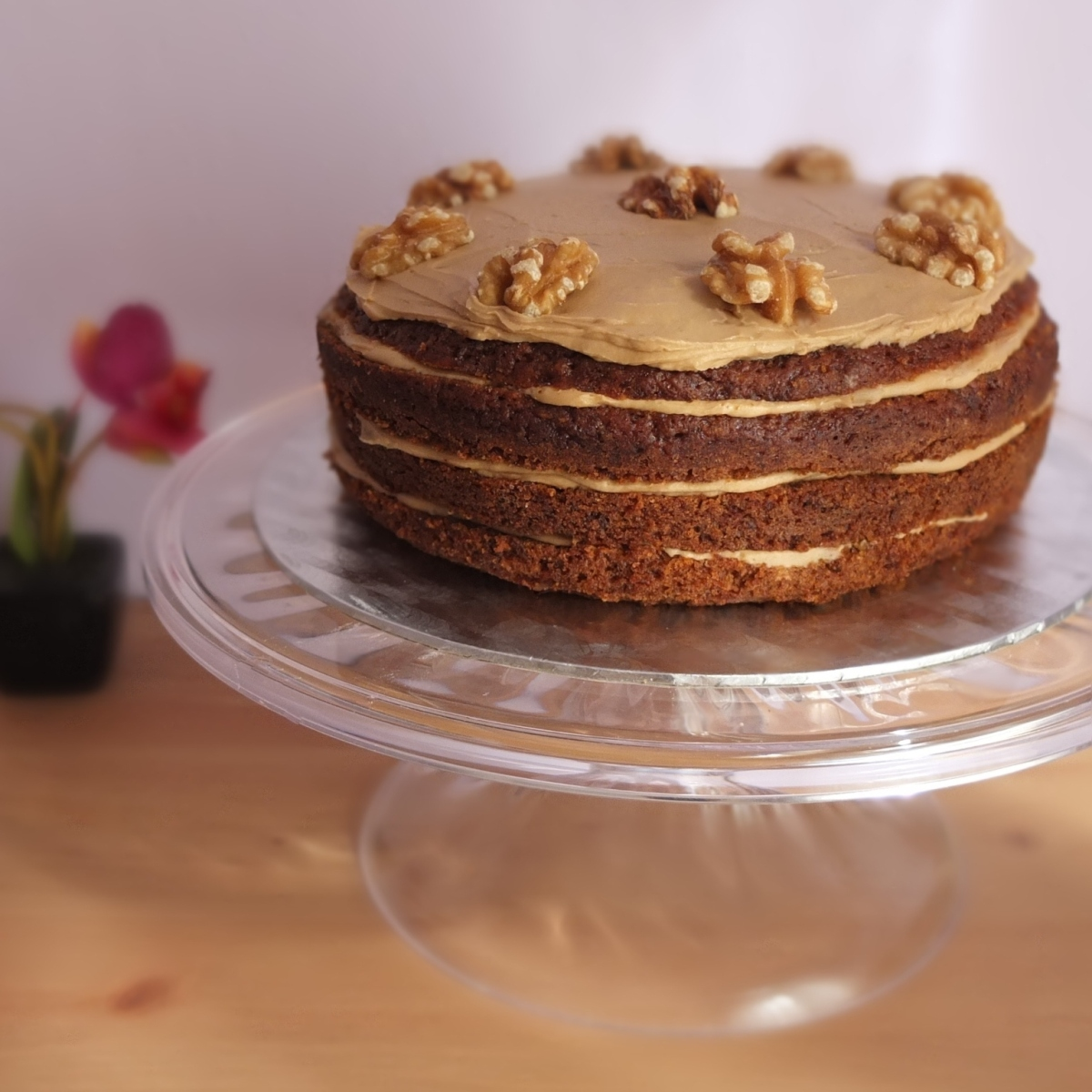 Slightly healthier coffee and walnut cake with carrot recipe!