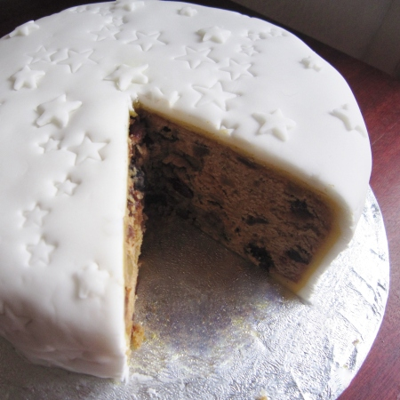 Traditional Christmas cake with fondant icing