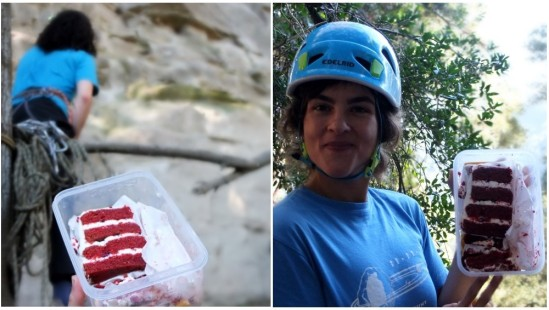 Climbers and red velvet cake