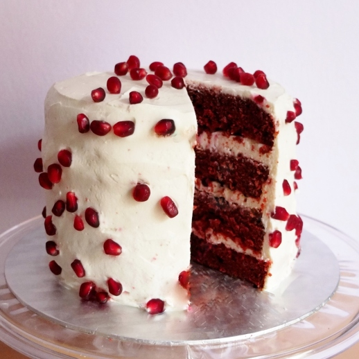 Pomegranate red velvet cake