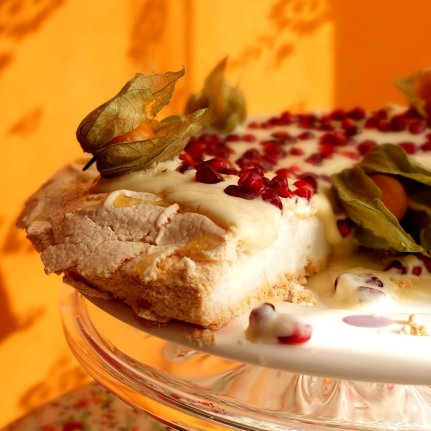 Pomegranate and passion fruit yoghurt pavlova