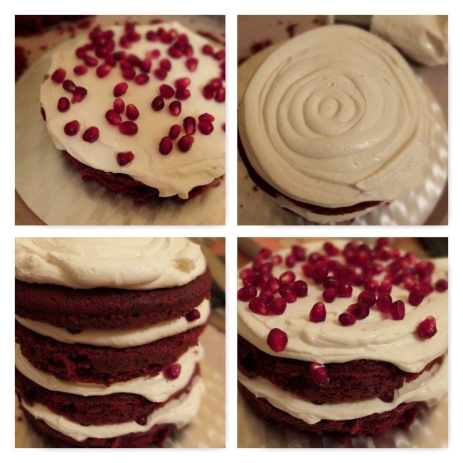 Pomegranate red velvet cake - making3