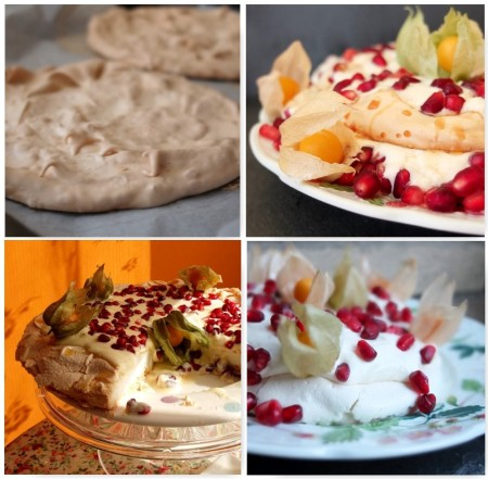 Versions of passion fruit and pomegranate pavlova