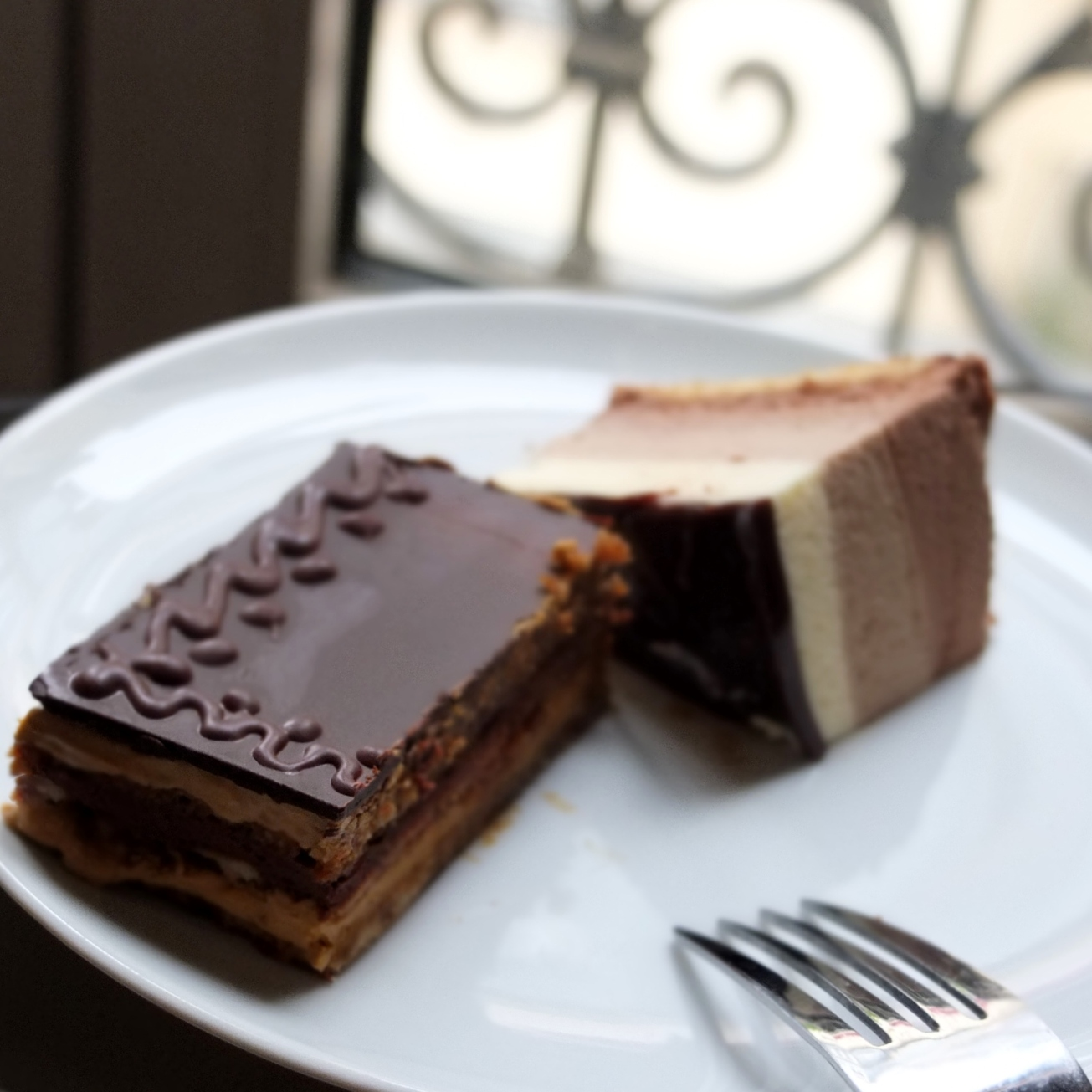Cake breakfast of opera cake and three chocolate bavarian mousse cake